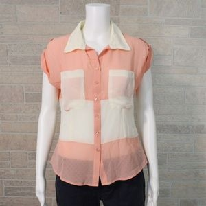 Eye Candy Sheer Coral Ivory Perforated Shirt Top